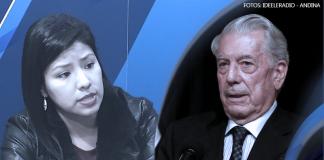 Indira Huilca - Mario Vargas Llosa (Fotos: Ideeleradio - Andina)