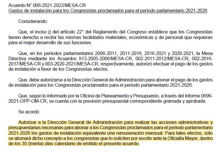 Acuerdo N° 006-2021-2022MESA-CR - Fuente: Congreso